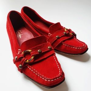 Cole Haan Red Suede Leather Loafer